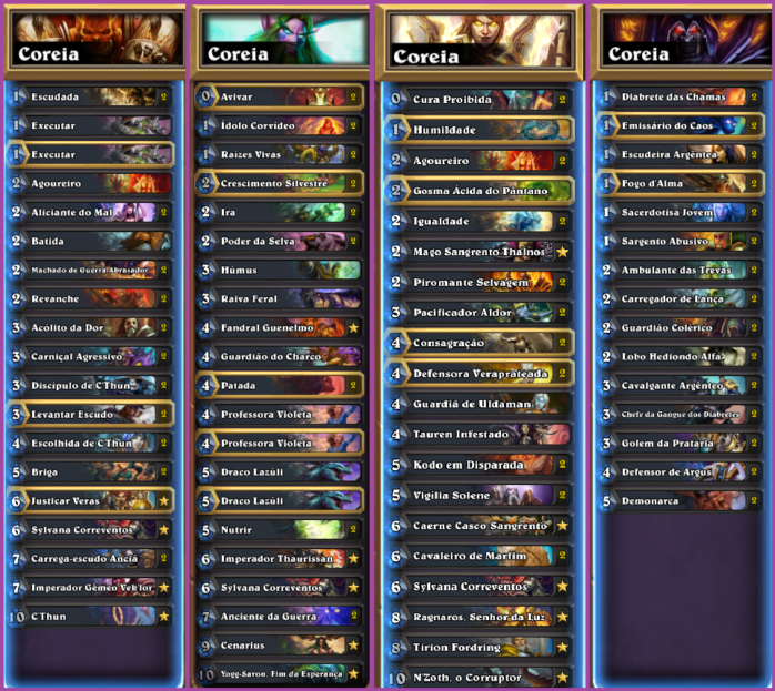 Coreia decklists summer